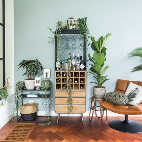 woonkamer met leuke prints voor op een dressoir van een vlinder en ananas